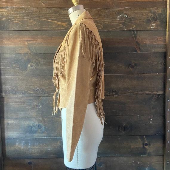 Vintage 80's suede fringe jacket / cropped fit / … - image 5