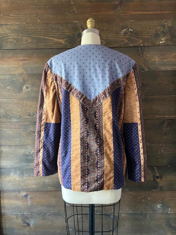 Vintage 90's quilted calico jacket / kantha coat … - image 7
