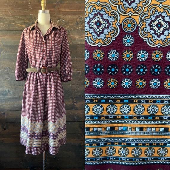 Vintage 70's shirtwaist midi dress / puff sleeve /