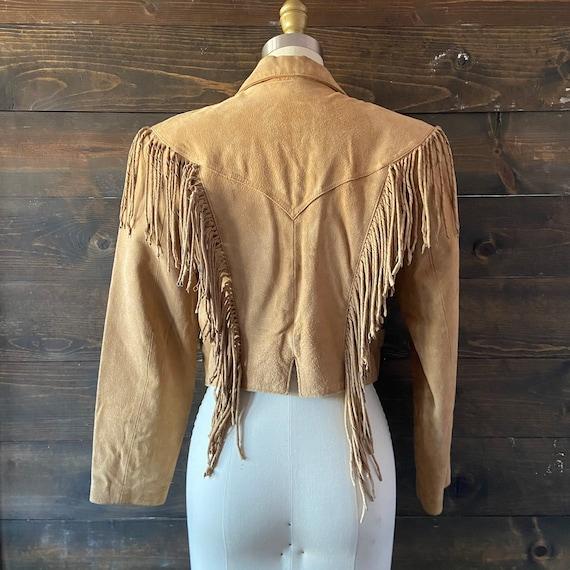 Vintage 80's suede fringe jacket / cropped fit / … - image 6