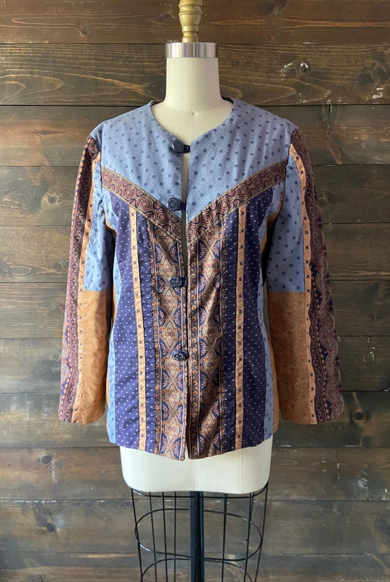 Vintage 90's quilted calico jacket / kantha coat … - image 4