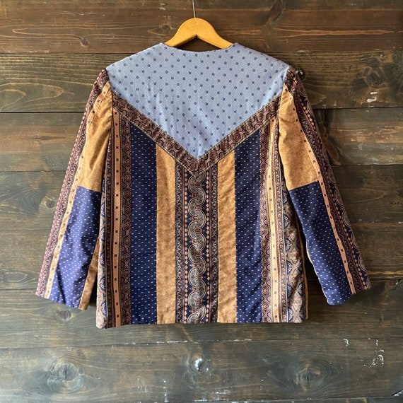 Vintage 90's quilted calico jacket / kantha coat … - image 1