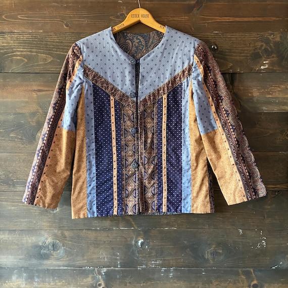 Vintage 90's quilted calico jacket / kantha coat … - image 2
