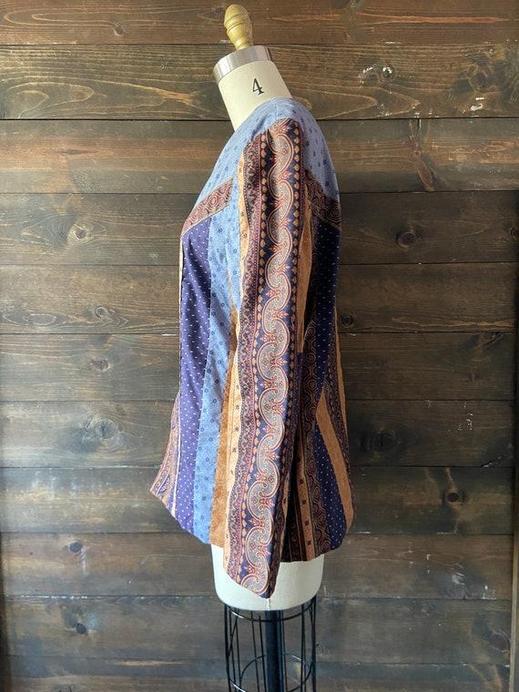 Vintage 90's quilted calico jacket / kantha coat … - image 6