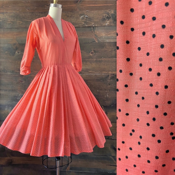 Vintage 50s cotton organdy dress / coral Swiss dot