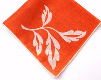 Vintage Handkerchief - Zero Waste Reusable Tissue - White Leaves on Rust Orange w/ White Rolled Edge - Sheer Cotton - Minimalist Sustainable