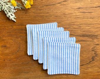 Reusable Facial Squares - Blue Stripe - Reclaimed Fabric - Facial Rounds - Makeup Removers - Cotton Flannel - Zero Waste - Minimalist