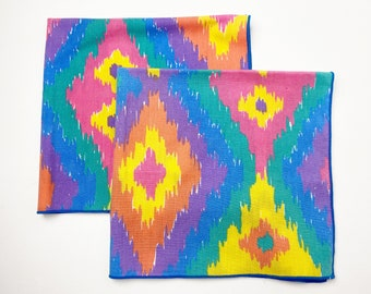 Vintage Colorful Cloth Napkins Set of 2 - Zero Waste Reusable - Vibrant Pastel Rainbow Diamond Shapes - Serged Edges - Eco Housearming Gift