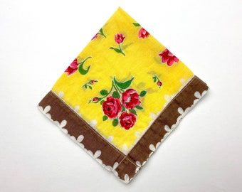 Vintage Handkerchief - Zero Waste Reusable Tissue - Red Roses on Yellow, Wide Brown Border - Printed Lightweight Cotton - Sustainable Living