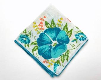 Vintage Handkerchief - Zero Waste Reusable Tissue - Turquoise Aqua Hibiscus Flowers - Rolled Edge - Lightweight Cotton - Sustainable Living