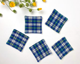 Reusable Facial Squares - Unisex - Blue Green White Yellow Woven Plaid Flannel - Cotton Rounds Makeup Remover - Reclaimed Fabric, Zero Waste