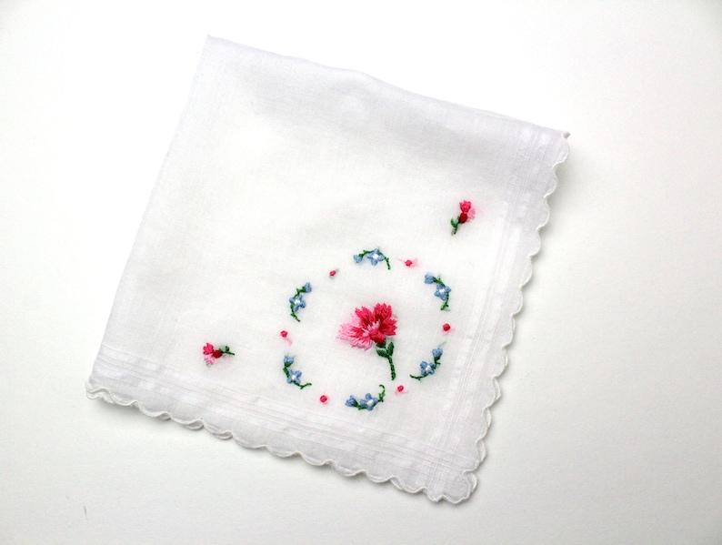 Vintage Hankerchief  Zero Waste Reusable Tissue  Embroidered image 0