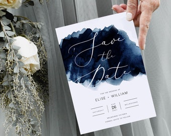 : Text-Editable Instant Download Midnight Blue Night Sky Save the Dates 5.5x4.25 Printable on Avery\u00ae Postcard Products