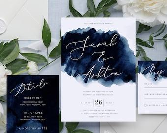 Navy Blue Wedding EDITABLE Wedding Invitations SET Royal Blue Navy Teal Indigo White Flowers Wedding Invitations Instant Download ROY #21