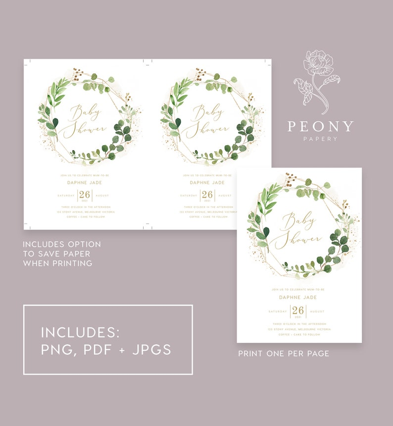 Thanks Tag Australia Greenery Baby Shower Bundle INSTANT DOWNLOAD Value Invite Bundle PBS020 Card Invite Enclosure Card