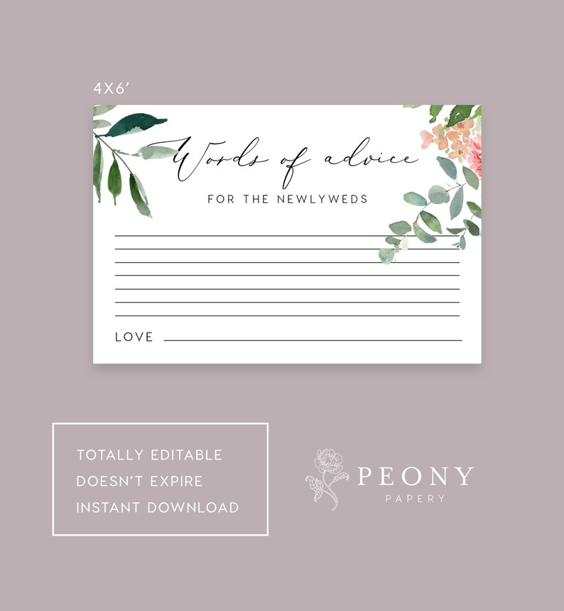 date ideas Hens night Bachelorette PEO006 Games Bridal shower Words of advice Brunch Words of advice game card INSTANT DOWNLOAD