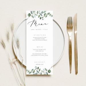 Kraft gold print your own Leafy PRINTABLE Wedding Menu PDF \u2013 Rustic Greenery digital Black A5 size elegant White