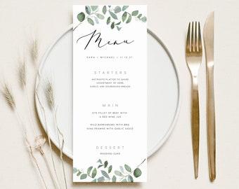 Greenery Menu INSTANT DOWNLOAD Eucalyptus Dinner Wedding, Editable Table Menu, Printable Menu, Minimal Templett Template PEO005