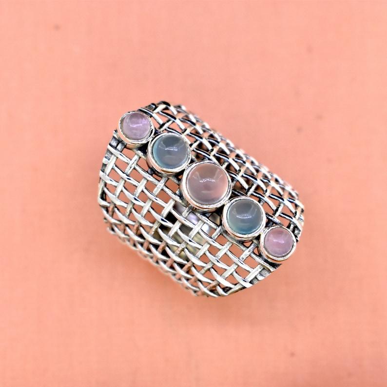 Rose quartz promise ring beautiful ring trendy ring aqua chalcedony 925 sterling silver ring handmade ring birthday gift gift for her