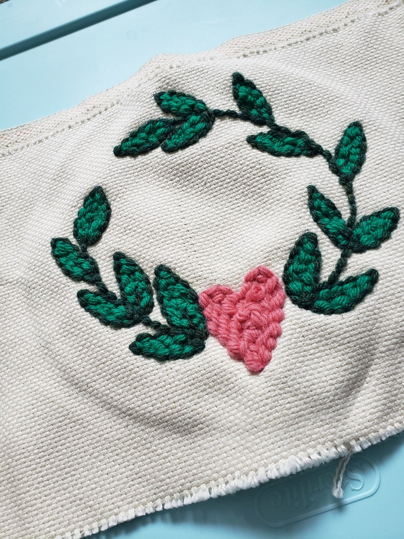 Finished product Punch Needle Embroidery Valentine Laurel Unframed