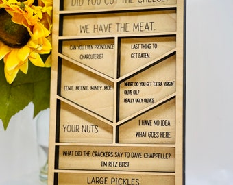 PRE-ORDER Funny Charcuterie Board for Food Lover, Personalized Cheese Board, Unique Engraved Charcuterie for Hostess Wedding Housewarming