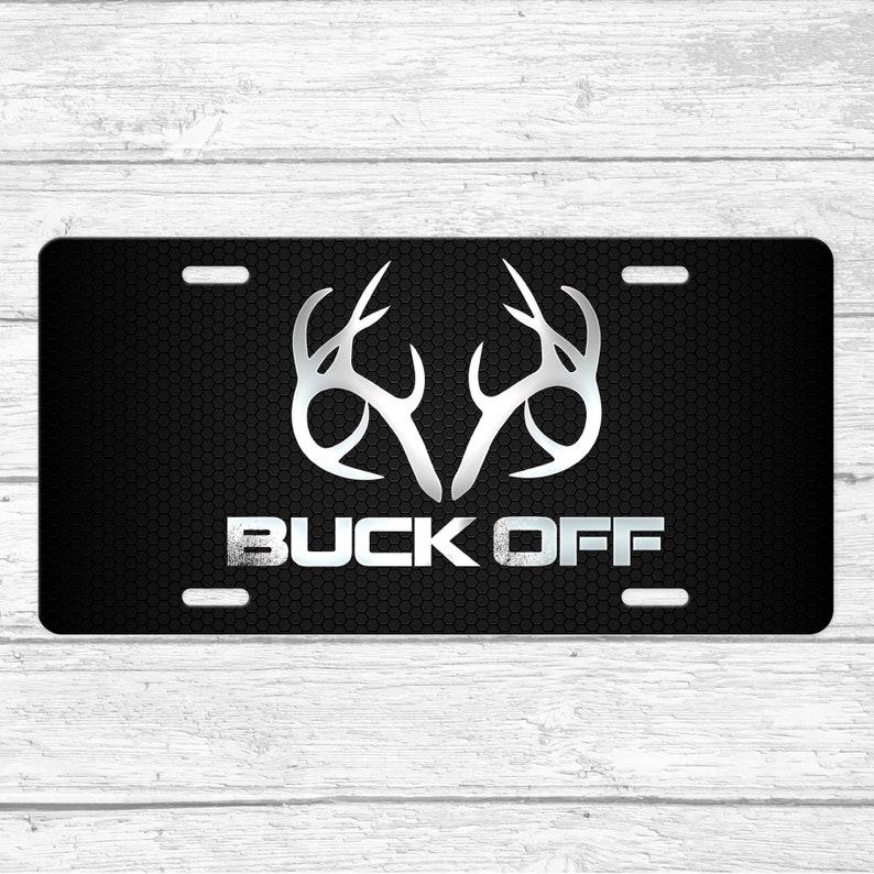 Funny Buck Off License Plate \u2022 Antlers License Plate \u2022 Deer Front License Plate \u2022 License Plate For Men