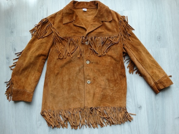 Vintage Biker Brown leather Fringe jacket, ,Road J