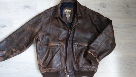 Vintage Camel flight leather jacket Top Gun Alpha