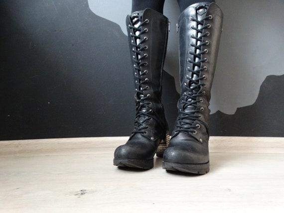 Vintage New Rock Goth Girl Boots On Heel/ Gotic Bo