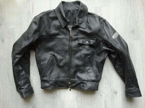 Vintage Biker Black leather Protective jacket,Clas