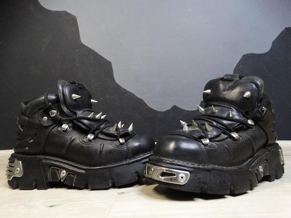 New Rock Leather spiked boots Vintage Gotic Biker