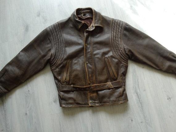 Mens Real Leather Biker Road jacket Size XL