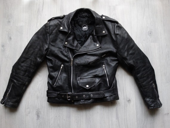 Classic Biker Leather jacket Mens Real Leather Bik