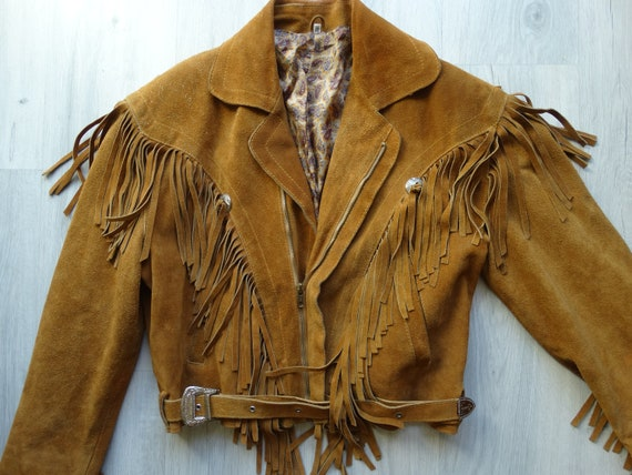 Vintage Biker Brown leather Fringe jacket,Leather