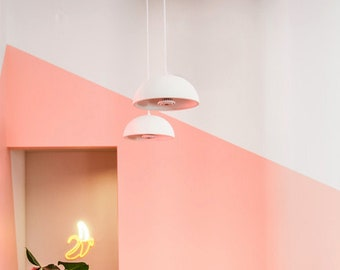 """14""""W Ceramic Dome Pendant Light Custom made ANY Color for Modern Kitchen Nook, Casual Dining, or Restaurant Bar Lighting"""