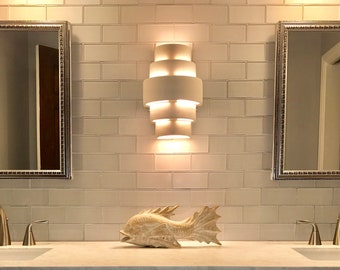 """15""""H Symmetrically Tiered Up/Down Wall Washer Sconce Custom Made ANY Color for Indoor or Outdoor Ambiant Lighting"""