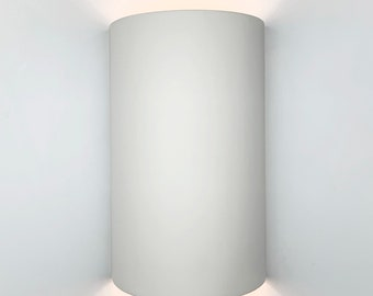 """13""""H Shallow Cylinder Up & Down Light Modern Wall Sconce, Indoor/Outdoor Architectural Ceramic Ambiance Lighting, Paintable ANY Custom Color"""