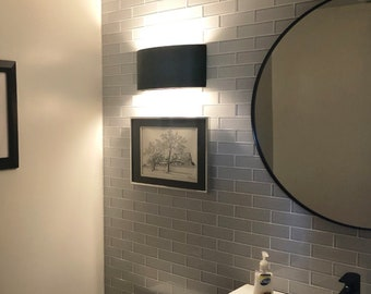 """14""""W Modern Shield Up & Down Light Wall Washer Sconce, Indoor/Outdoor Architectural Ceramic Ambiance Lighting, Paintable ANY Custom Color"""