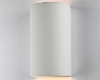 """9 3/4""""H Cylinder Up & Down Modern Wall Washer Sconce, Indoor/Outdoor Architectural Ceramic Ambiance Lighting, Paintable ANY Custom Color"""