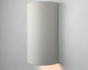 """9 3/4""""H Directional Cylinder Modern Wall Washer Sconce, Indoor/Outdoor Architectural Ceramic Ambiance Lighting, Paintable ANY Custom Color"""