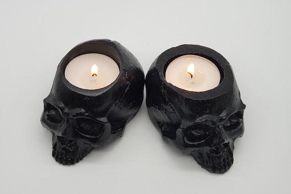 RED Realistic Skull Tealight SET OF 2 Goth Halloween Candle Tea Light Holder