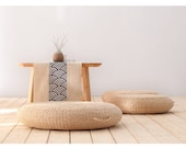 Seat Cushion Round Pouf Tatami Chair Pad Yoga Seat Pillow Knitted Floor Mat Garden Dining Room Home Decor Outdoor (40cm x 6 cm)