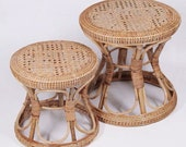 Boho Rattan Chair Plant Stand Ottoman Kids stool sidetable Boho decor vanity stool natural color