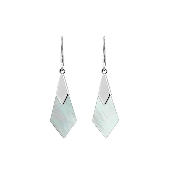 Sterling Silver Diamond-shaped Abalone or Mother of Pearl Bali Dangle Earrings