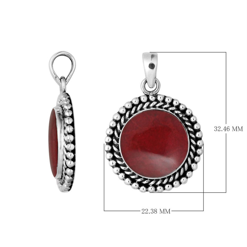 Sterling Silver Round Shape Pendant with Coral