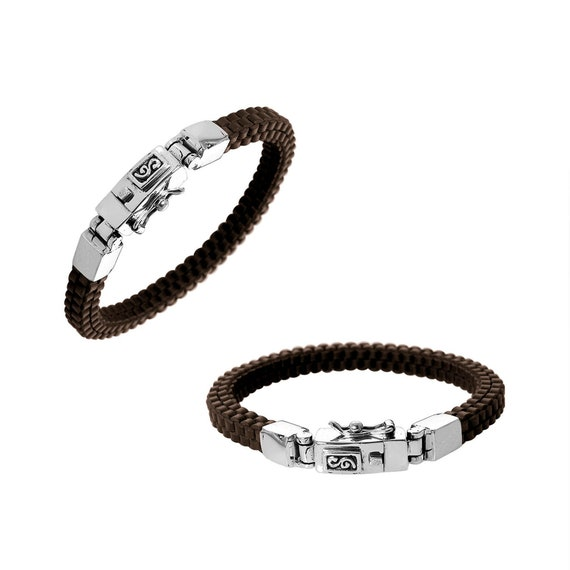 Sterling Silver Bracelet With Light Brown Leather 7.5 INCH