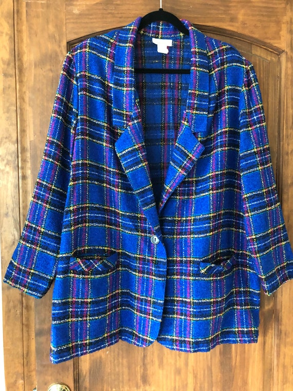 Vintage oversized tweed plaid blazer by Roaman's