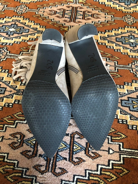Stuart Weitzman grey fringe suede bootie size 8 - image 5
