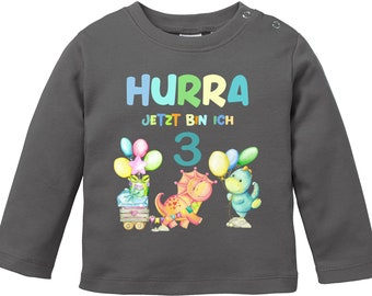 Hurray now I am 3 / birthday shirt for the little ones with sweet dinosaur motif