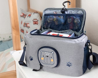 Toniebox Bag BoxBag for figures and box - Transport bag with hook and speaker opening for travel & car - Bear, Blue
